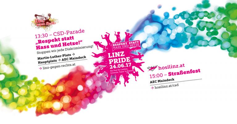 Linz PRIDE 2017: Respekt statt Hass und Hetze