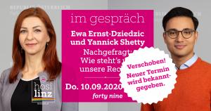 Verschoben! Im Gespräch: Ewa Ernst-Dziedzic und Yannick Shetty @ Queer Bar forty nine