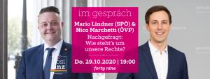 Im Gespräch: Mario Lindner (SPÖ) - Nico Marchetti (ÖVP) @ Queer Bar forty nine