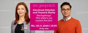 Im Gespräch: Ewa Ernst-Dziedzic und Yannick Shetty @ Queer Bar forty nine